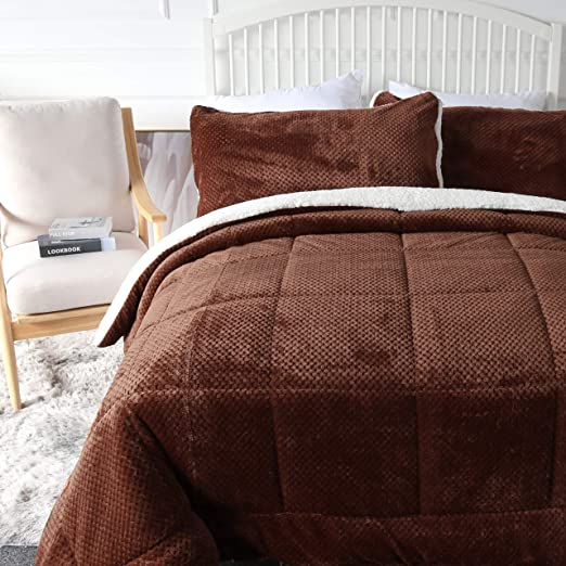 Plush Fuzzy Chocolate Brown Reversible Comforter /& Shams Full//Queen Bed Set