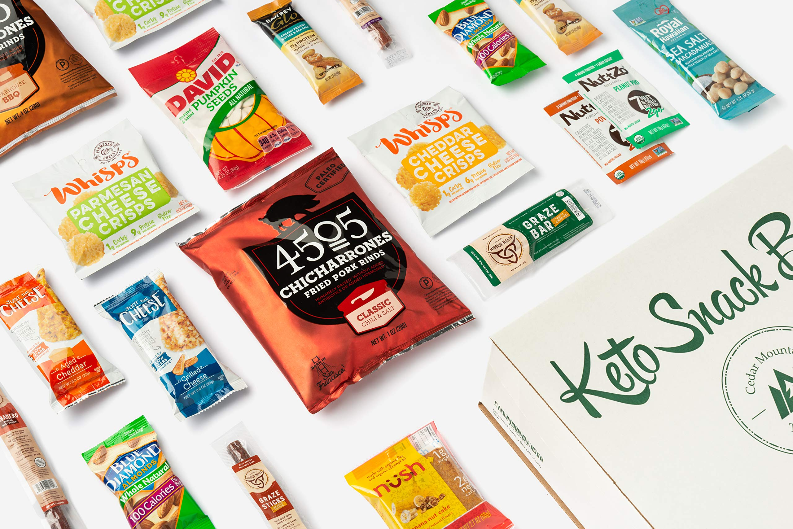 Keto Snack Box (40 Count)-Ultra Low Carb Snacks-Ketogenic Friendly, Gluten Free, Low Sugar Healthy Keto Gift Box Variety Pack - Protein Bars, Pork Rinds, Cheese Crisps, Nut, Jerky, and More by Cedar Mountain Trade Co. (Image #5)
