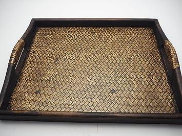 Plato de servir alimentos bandeja de hecho a mano de madera de teca de Tailandia estilo Vintage decoración para el hogar Premium: Amazon.es: Hogar