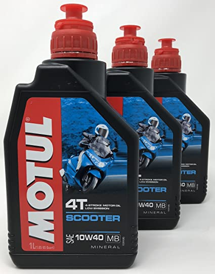 MOTUL Aceite Moto Mineral 4 Tiempos Scooter 4T 10W-40, 3 litros ...