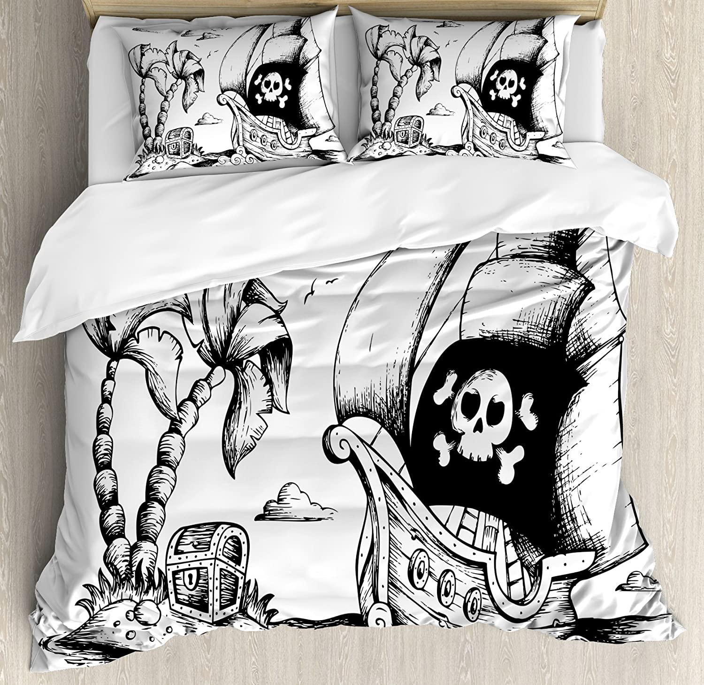 Pirate布団カバーセットby Ambesonne、ヤシの木の図面とヨットDanger Sign FlagアンティークVessel Treasure Island、装飾寝具セット枕、ブラックホワイト キング nev_38207_king B074PQBH5Gマルチ1 キング
