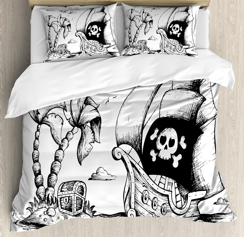 Pirate布団カバーセットby Ambesonne、ヤシの木の図面とヨットDanger Sign FlagアンティークVessel Treasure Island、装飾寝具セット枕、ブラックホワイト QUEEN / FULL nev_38207_queen B074PPW5L2 QUEEN / FULL|マルチ1 マルチ1 QUEEN / FULL