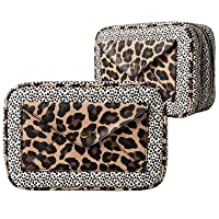 Nicole Miller Makeup Bag, Travel Toiletry Case, and Cosmetic Bag- 2 Zipper, Large Makeup Organizer (Animal Print)