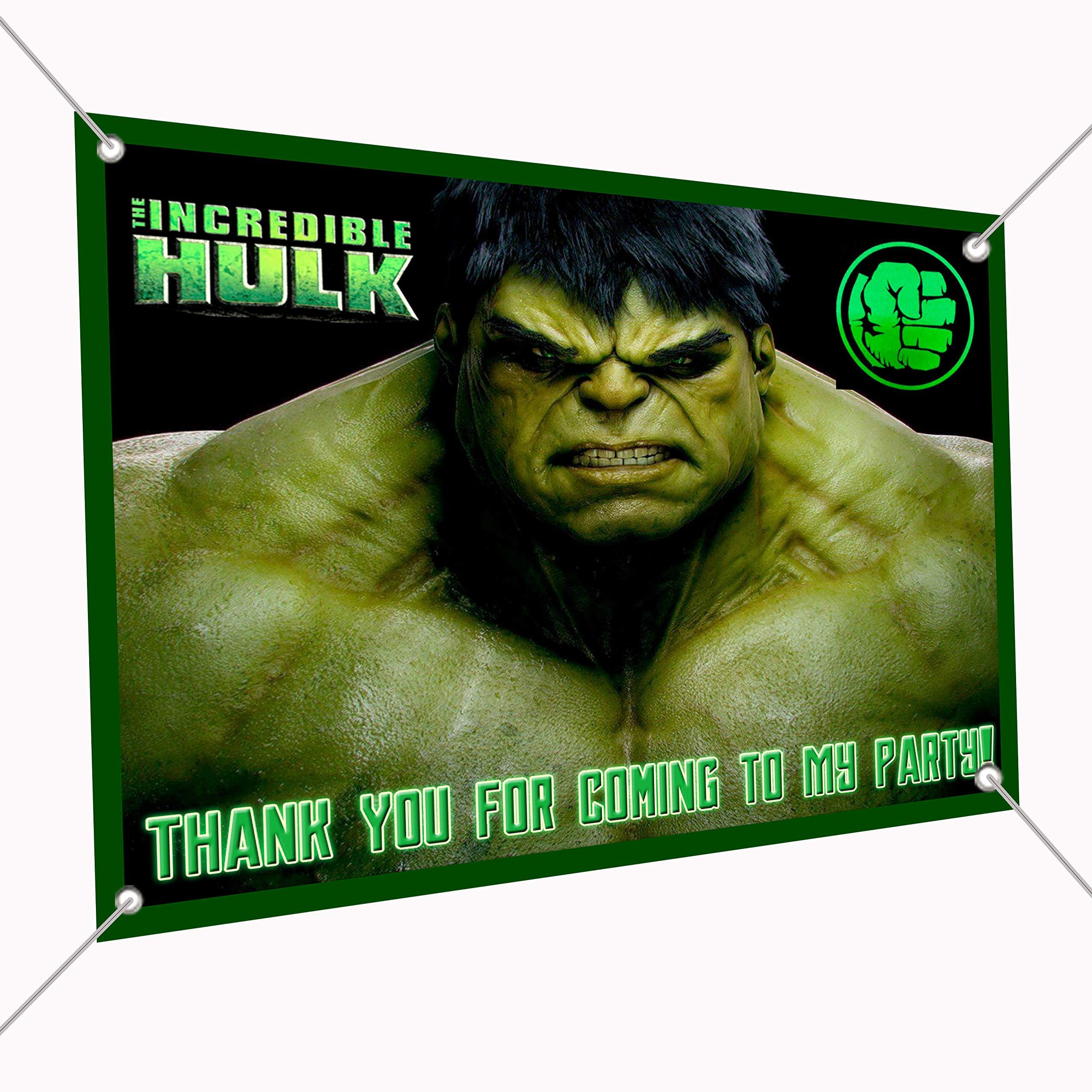 The Incredible Hulk Banner Large Vinyl Indoor or Outdoor Banner Sign Poster Backdrop, Party Favor Decoration, 30'' x 24'', 2.5' x 2', Infinity War Movie Green Giant
