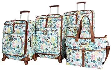 1370584fd6 Image Unavailable. Image not available for. Color  Lily Bloom Luggage Set 4  Piece Suitcase Collection With Spinner Wheels For Woman (Aquarium Life