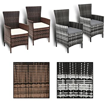 Gartenstühle rattan  Amazon.de: Estexo® 2er Set Polyrattan Gartenstühle, Rattan, Garten ...
