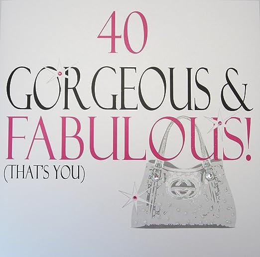 White Cotton Cards XN18-40 - Tarjeta por 40 cumpleaños con ...