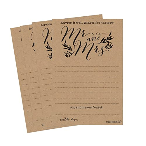 50 4x6 kraft rustic wedding advice well wishes for the bride and groom cards
