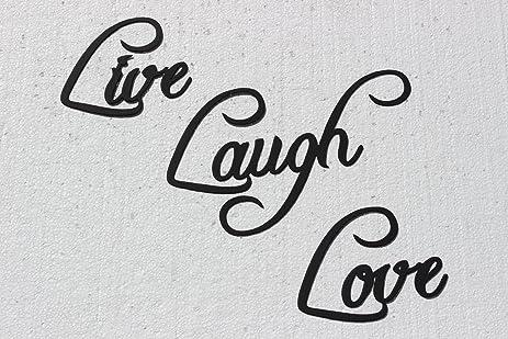 Amazon.com: Live Laugh Love Word Sign Fancy Metal Wall Art 3 Piece ...