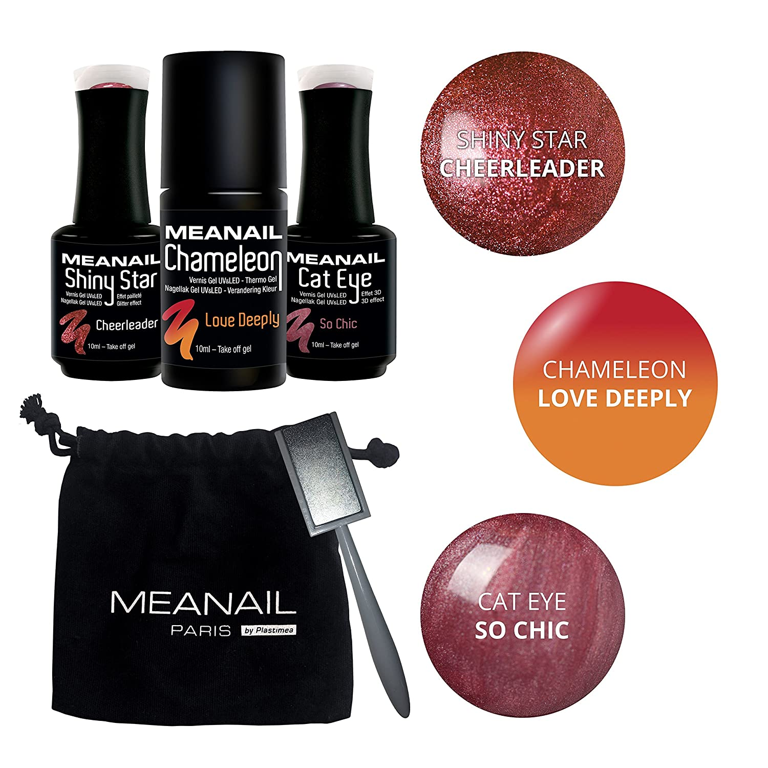 MEANAIL ® PARIS TRIO SET - Cofanetto di 3 Gel Polish CAT EYE Chameleon Shiny Star con Magnete - Nuance : Navy Motion Plastimea Pro+