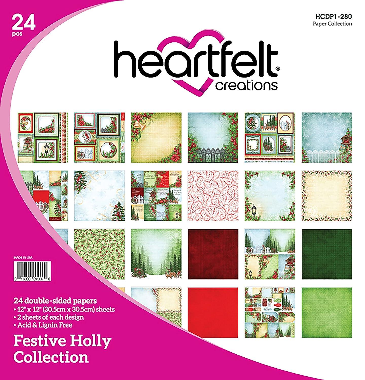 Heartfelt Creations フェスティブ ヒイラギ 両面 ペーパーパッド 24枚入り 12インチx12インチ B074D6193V