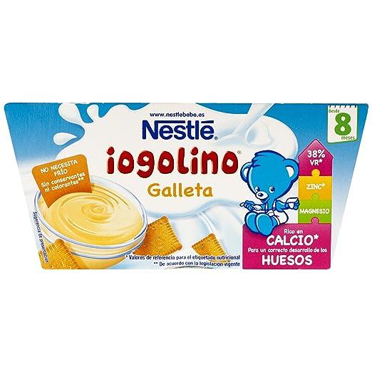 Nestlé Iogolino Alimento infantil, postre lácteo con galleta - Paquete de 4 x 100 gr - Total: 400 gr - [Pack de 6]