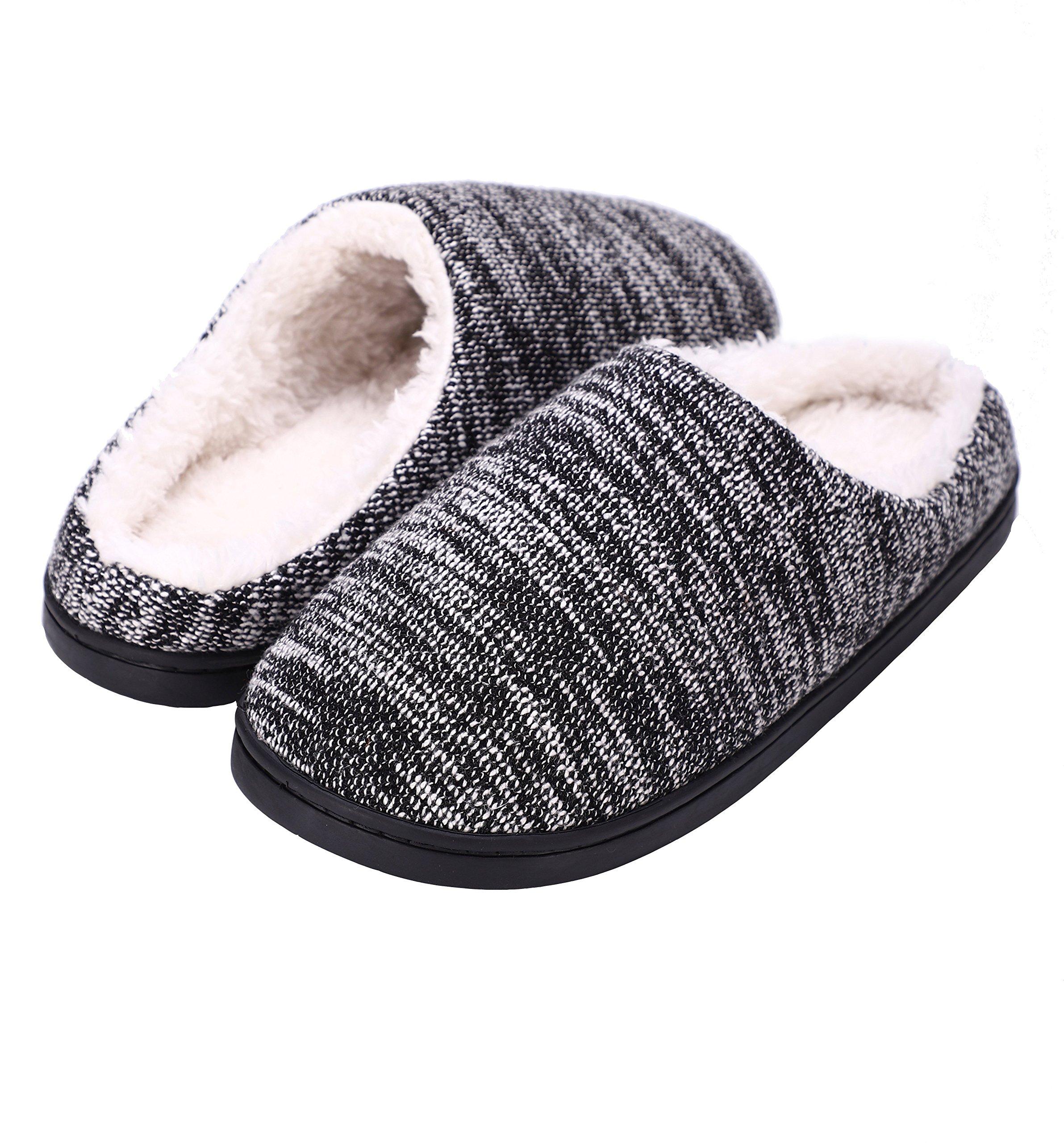 DRSLPAR Women's Memory Foam Slippers Cozy Clog Fuzzy Indoor House Shoes Anti Slip Ruber Sole (Black-White Small) by DRSLPAR