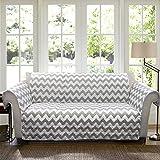 Lush Decor Chevron Slipcover/Furniture Protector for Sofa, Gray/White