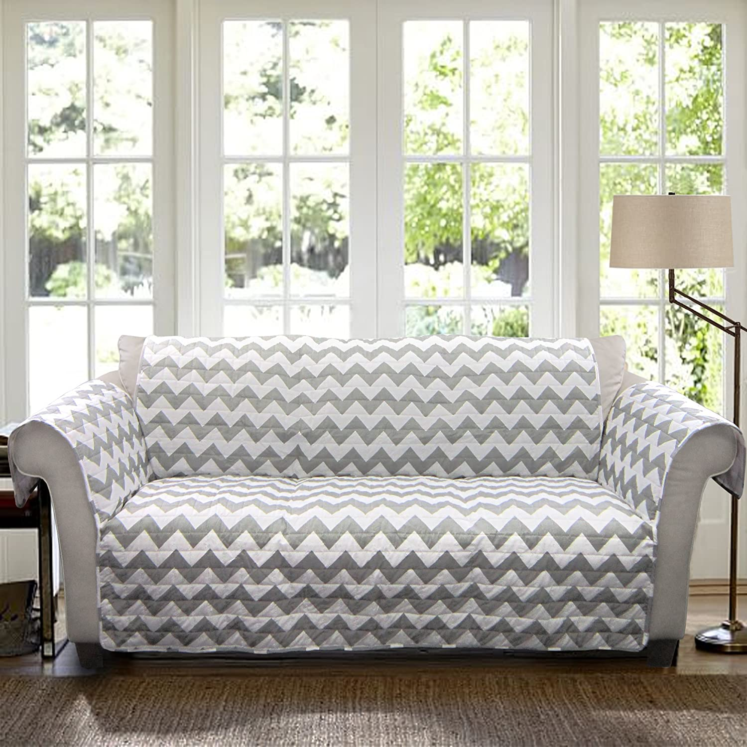 amazoncom lush decor chevron protector for sofa graywhite home u0026 kitchen