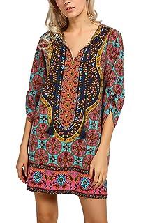 5c69c07405 Women Bohemian Neck Tie Vintage Printed Ethnic Style Summer Shift Dress