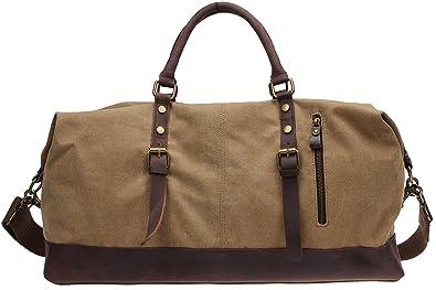 221d626d91d5 Unisex s Travel Canvas Duffel Overnight Bag Weekender Oversized Leather  Handbag 21.5   A9991 (M