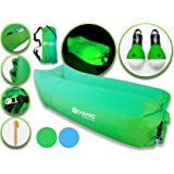 LightUpLounger Inflatable Lounger with Pockets, Stake, Carry Bag and 2 Camping Lights - Inflatable Sofa Air Chair for Outdoor, Indoor, Beach, Park, Snow Lounging Chilling
