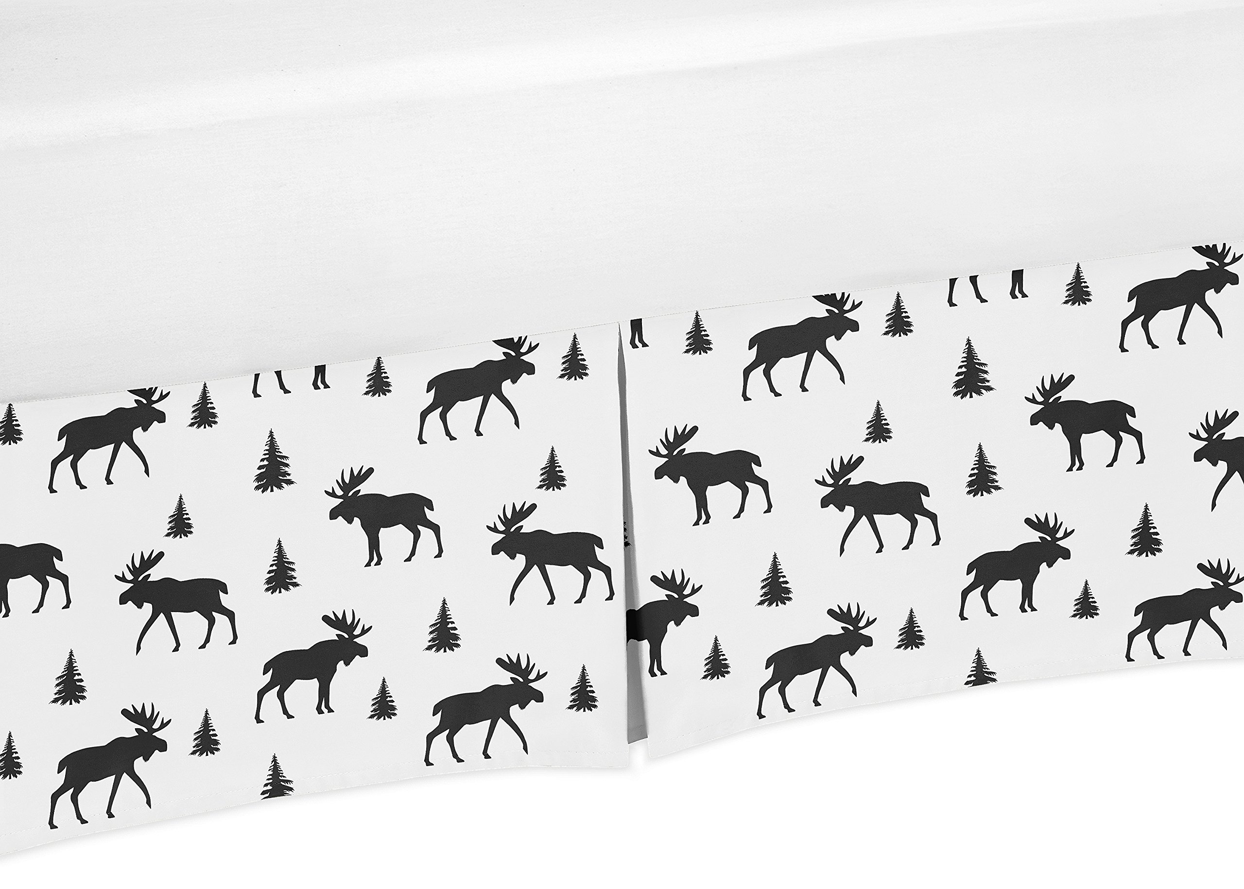 Sweet Jojo Designs Black and White Woodland Moose Baby Boy Pleated Crib Bed Skirt Dust Ruffle for Rustic Patch Collection