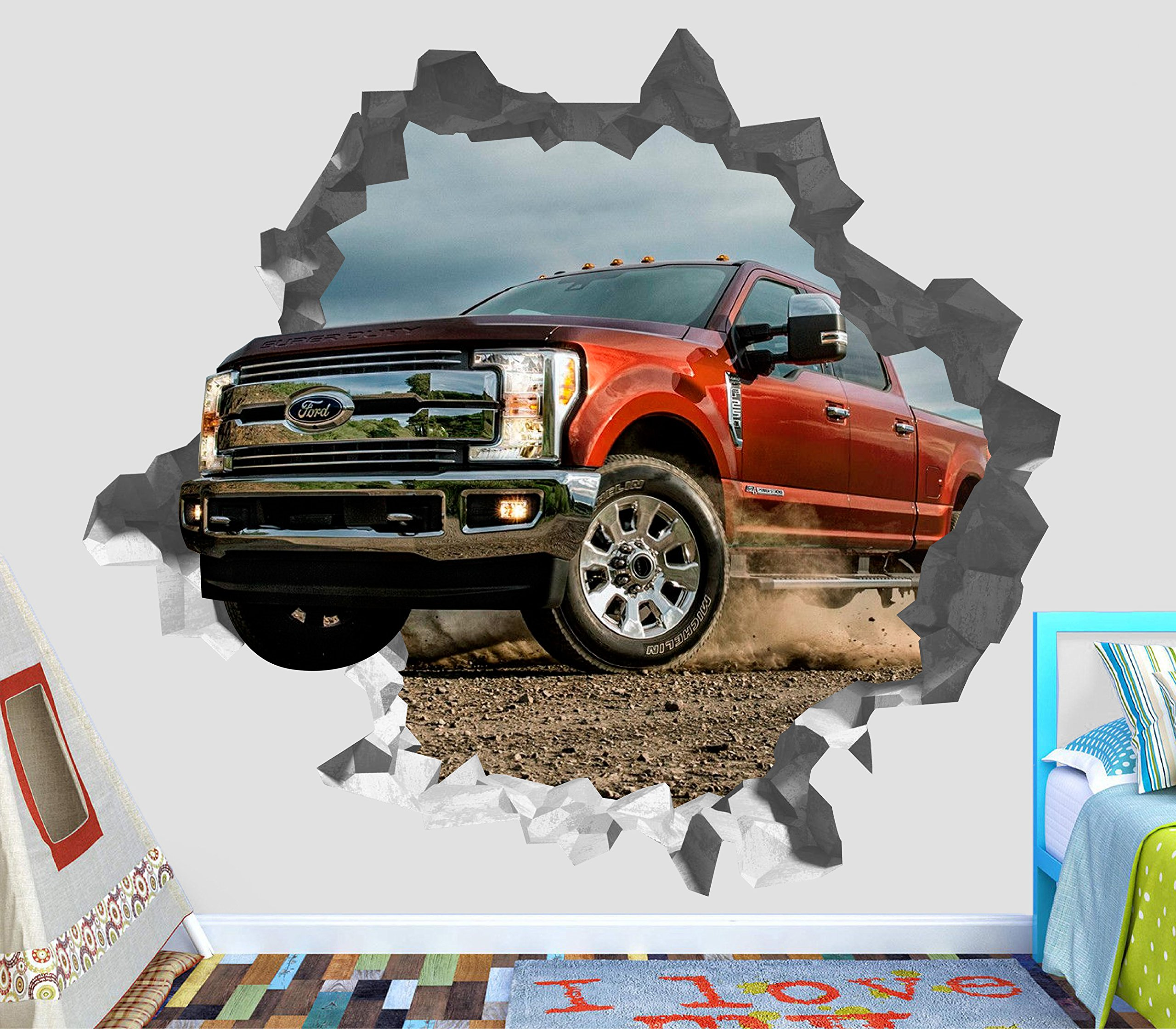 Ford F250 Super Duty Pickup Truck Red Wall Decal Sticker Vinyl Decor Door Window Mural - Broken Wall - 3D Designs - OP61 (Small (Wide 22'' x 16'' Height)) by DecorLab