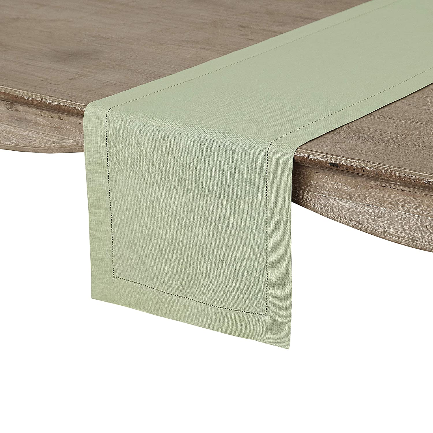 Solino Home Hemstitch Linen Table Runner - 14 x 72 Inch, Handcrafted from European Flax, Machine Washable Classic Hemstitch - Sage Green