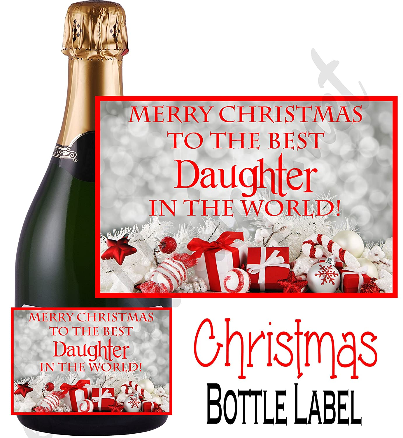 eternal design merry christmas best daughter champagne style bottle label npxdcl52 amazoncouk office products - Merry Christmas Daughter