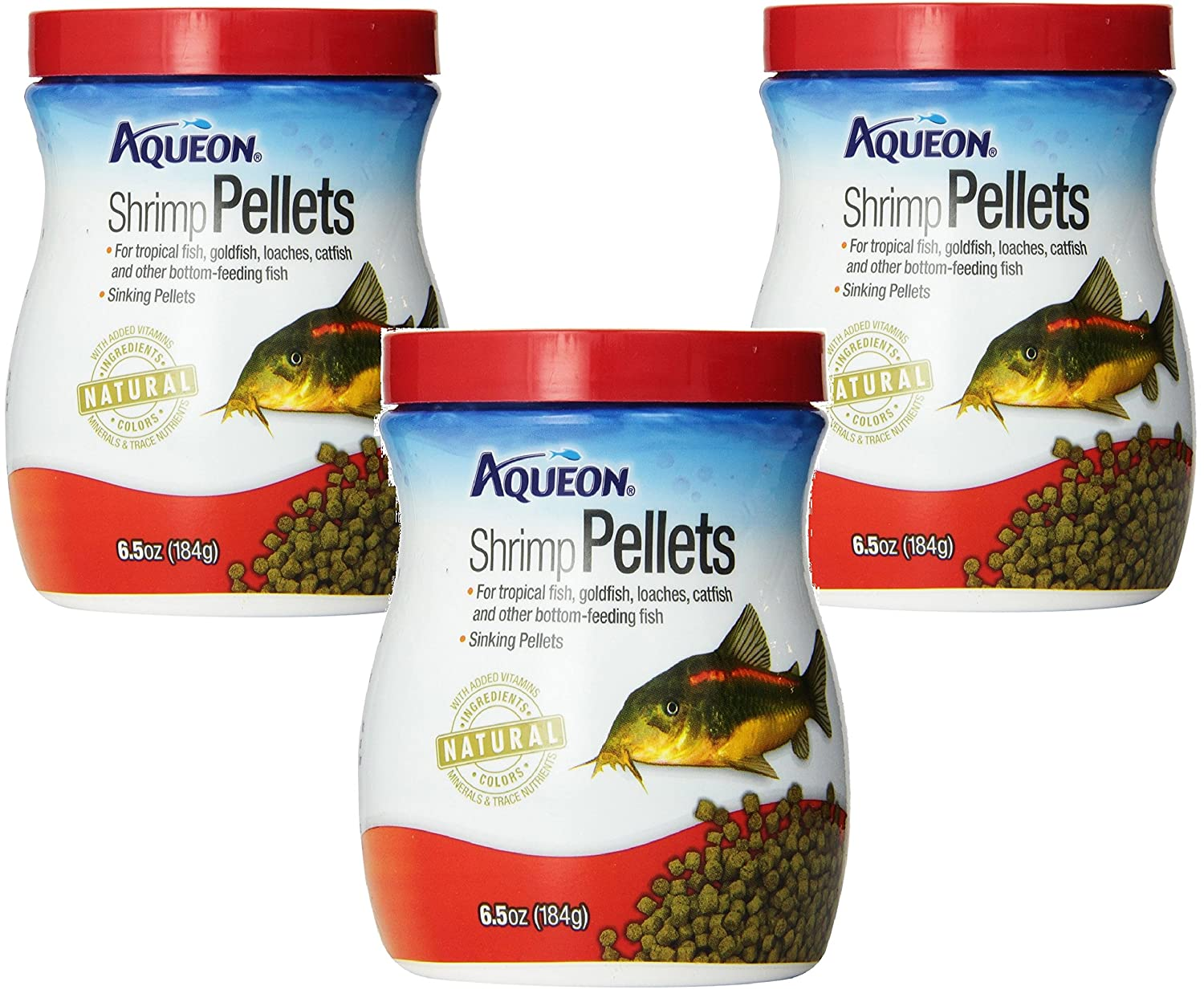 (3 Pack) Aqueon Shrimp Pellets Fish Food, 6.5 Ounces each