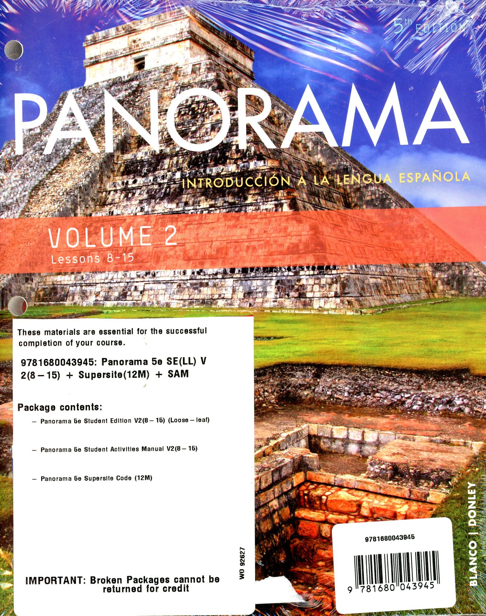 Panorama 5th ed looseleaf vol 2 text chp 8 15 w supersite12m panorama 5th ed looseleaf vol 2 text chp 8 15 w supersite12m and vol 2 student activities manual jos a blanco philip redwine donley fandeluxe Choice Image