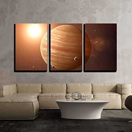 wall26 - 3 Piece Canvas Wall Art - Colorful picture represents Jupiter and its moons.