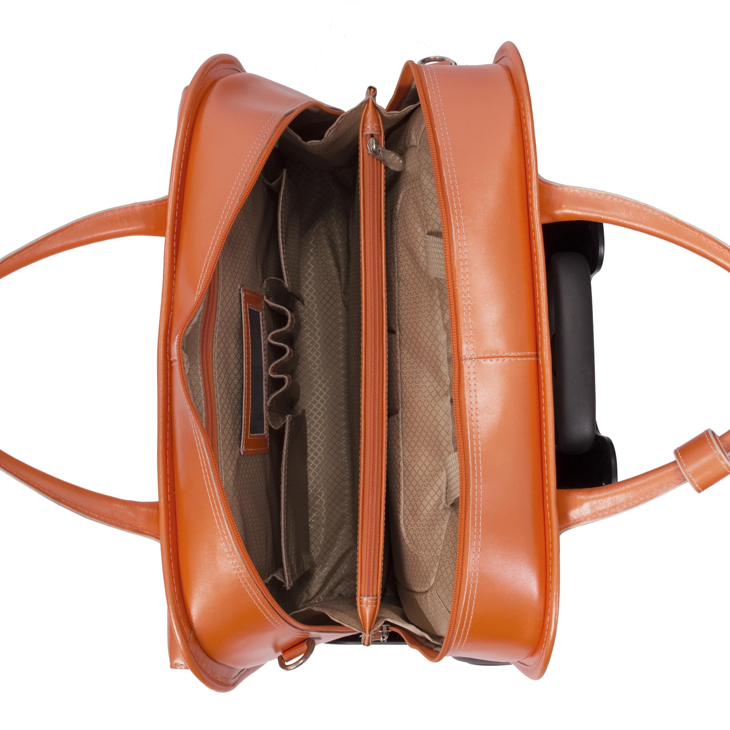 McKleinUSA LAKEWOOD 96615 Black Leather Fly-Through Checkpoint-Friendly Detachable-Wheeled Ladies' Briefcase by McKleinUSA (Image #1)