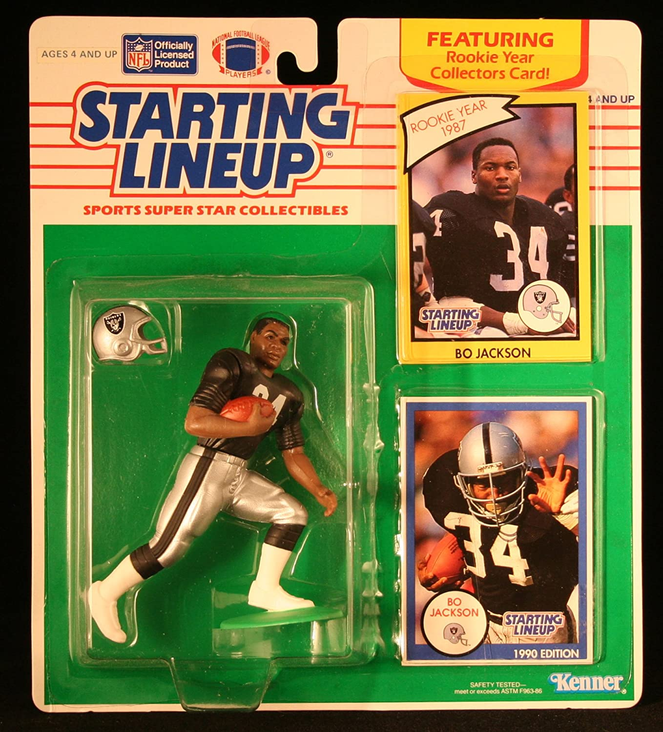 BO JACKSON OAKLAND RAIDERS 1990 NFL Starting Lineup Action Figure /& Exclusive NFL Collector Trading Card Kenner 73247