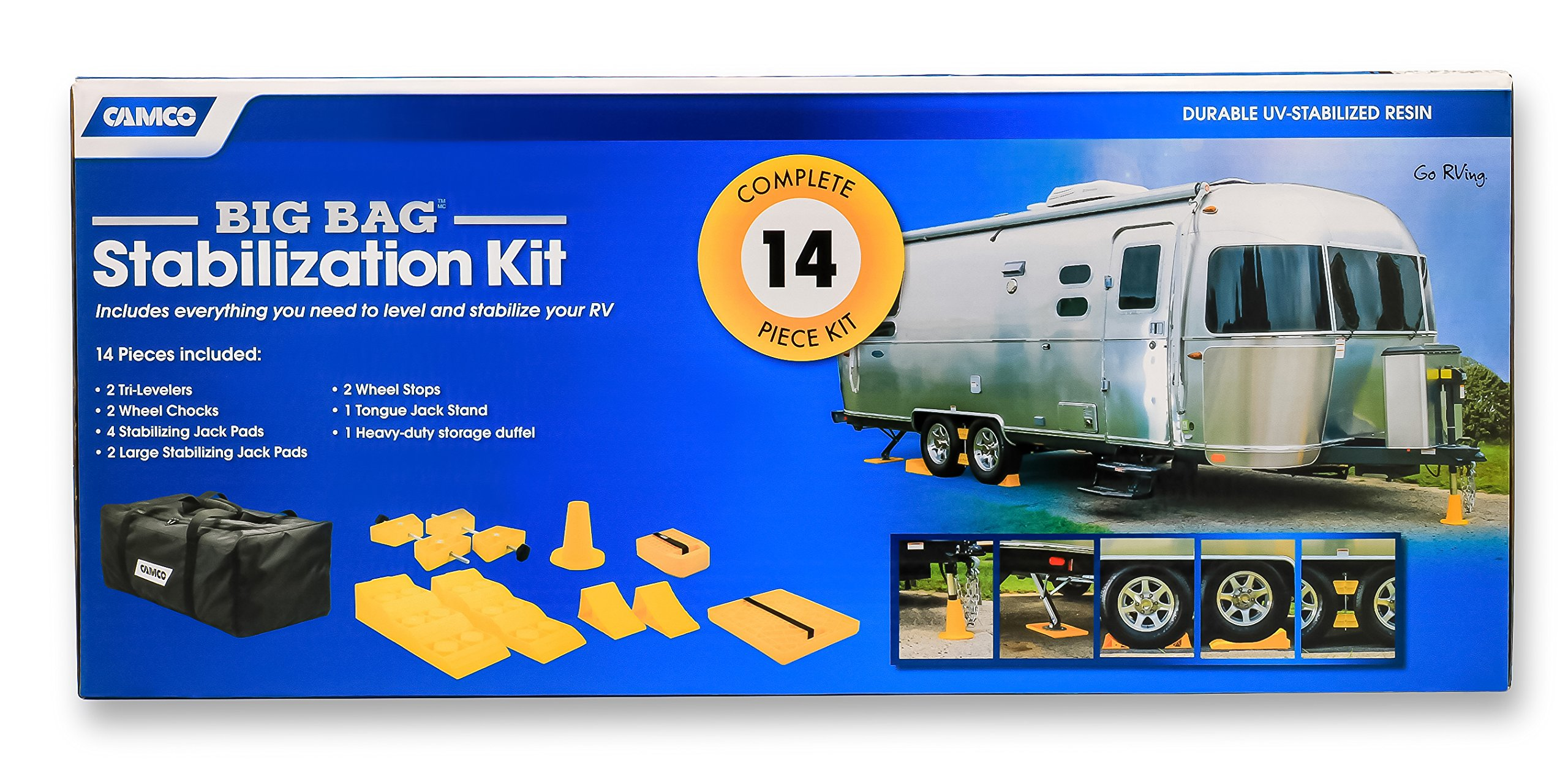 Camco Big Bag Stabilization Kit - Includes Everything You Need to Level and Stabilize Your RV, Camper or Trailer | 14 Piece Complete  Kit with Heavy Duty Storage Duffel Bag - (44550) by Camco