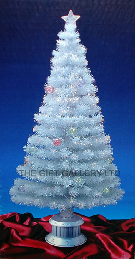 4FT WHITE FIBRE OPTIC CHRISTMAS TREE WITH STARS AND BAUBLES: Amazon ...