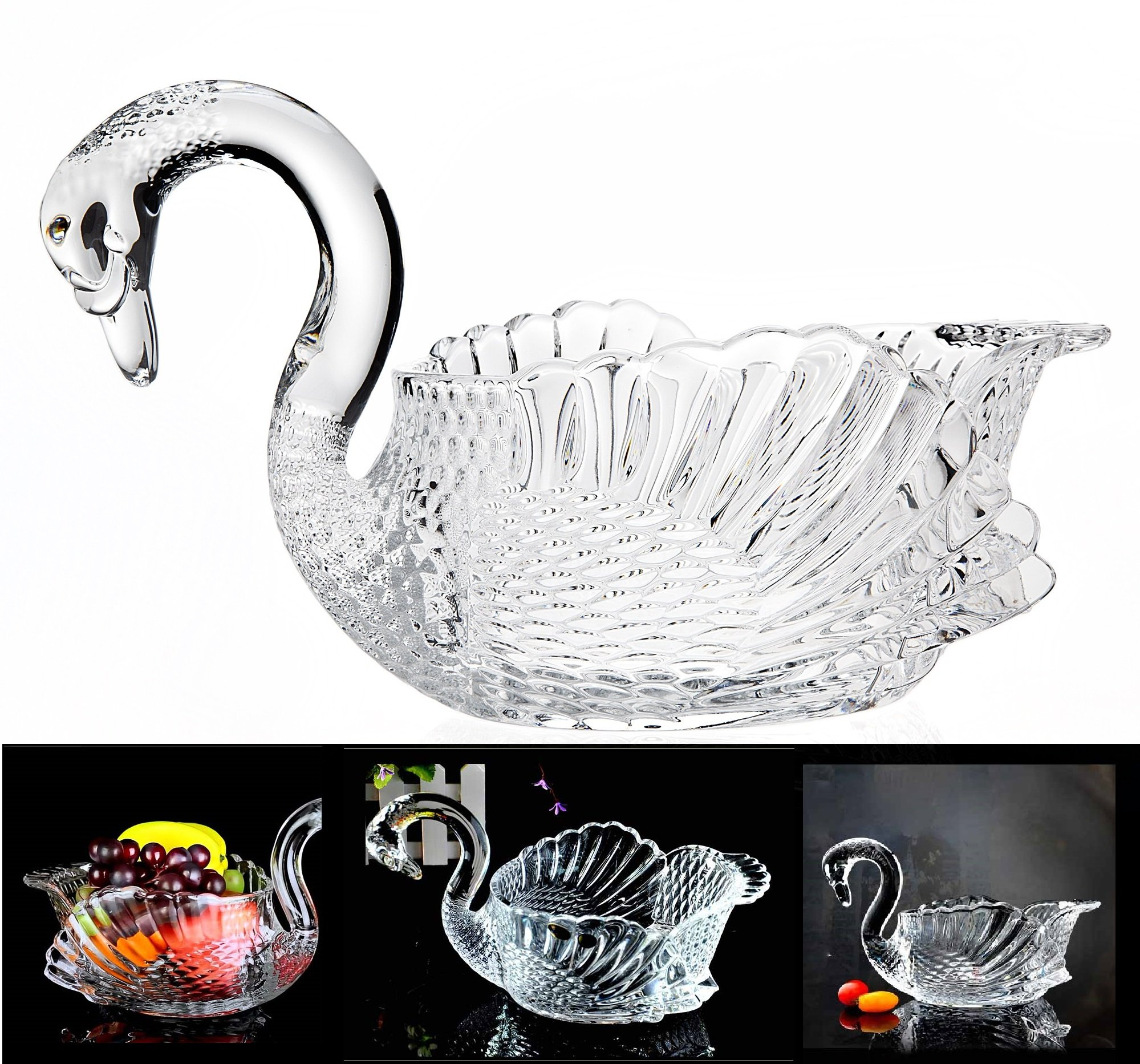 Crystal Swan Serving Bowl Centerpiece For Home,Office,Wedding Decor
