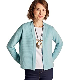 5c0712a3eaf2c7 Woolovers Womens Cashmere and Merino Ripple Stitch Jacket Seafront, L