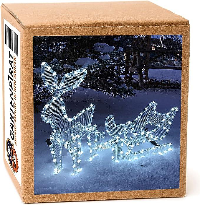 Gartenpirat Reno con Trineo 3D tubo luz LED blanco frío exteriores: Amazon.es: Iluminación