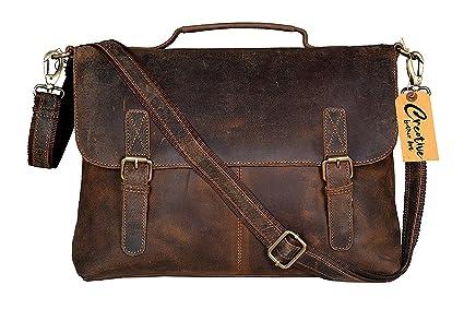 173c5c2083bd kk's 16 Inch Retro Buffalo Hunter Leather Laptop Messenger Bag Office  Briefcase College Bag leather bag for men and women