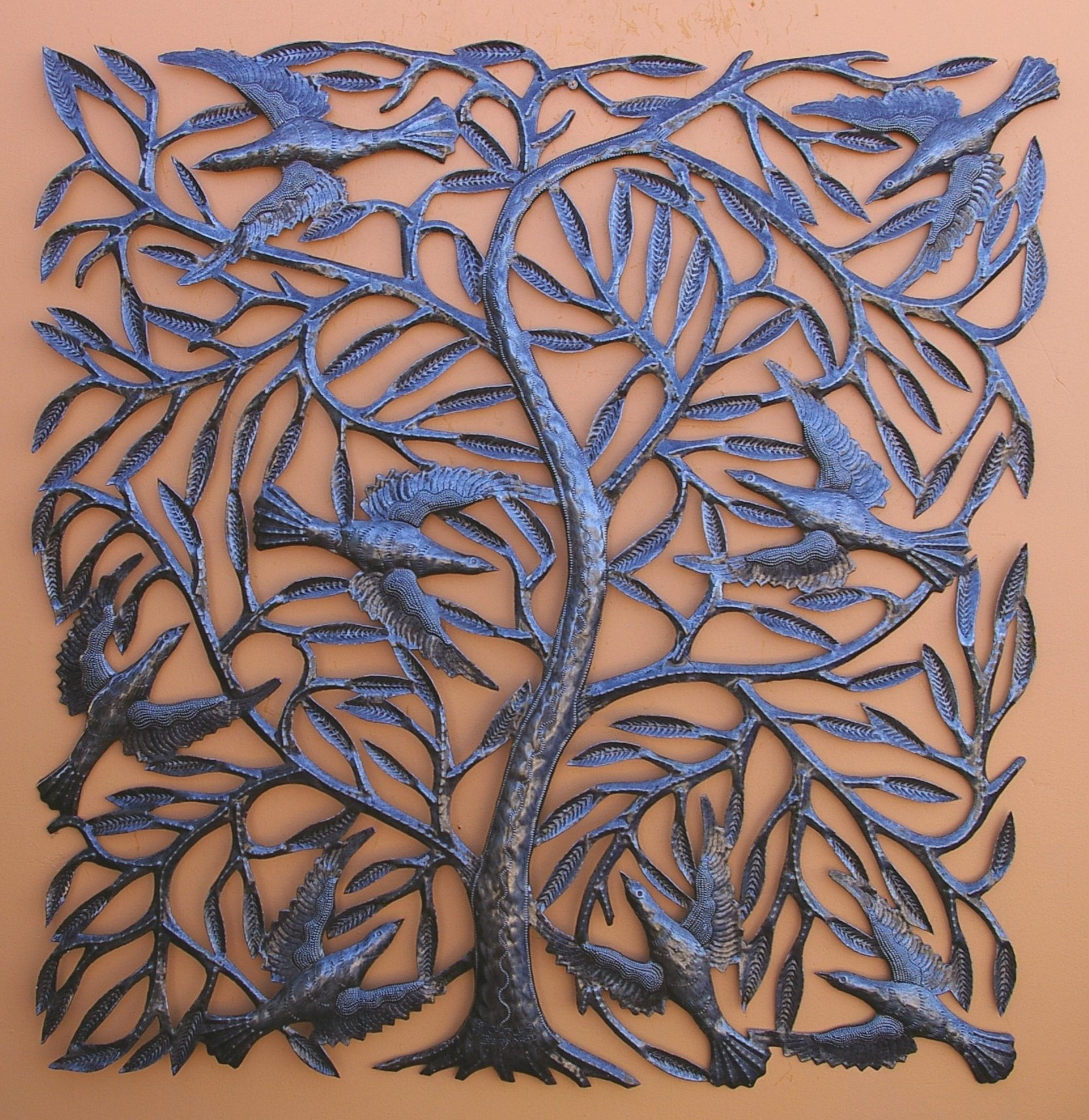 Large Metal Tree of Life with Swallows Traditional Haitian Folk Art 34'' x 34'' by it's cactus - metal art haiti