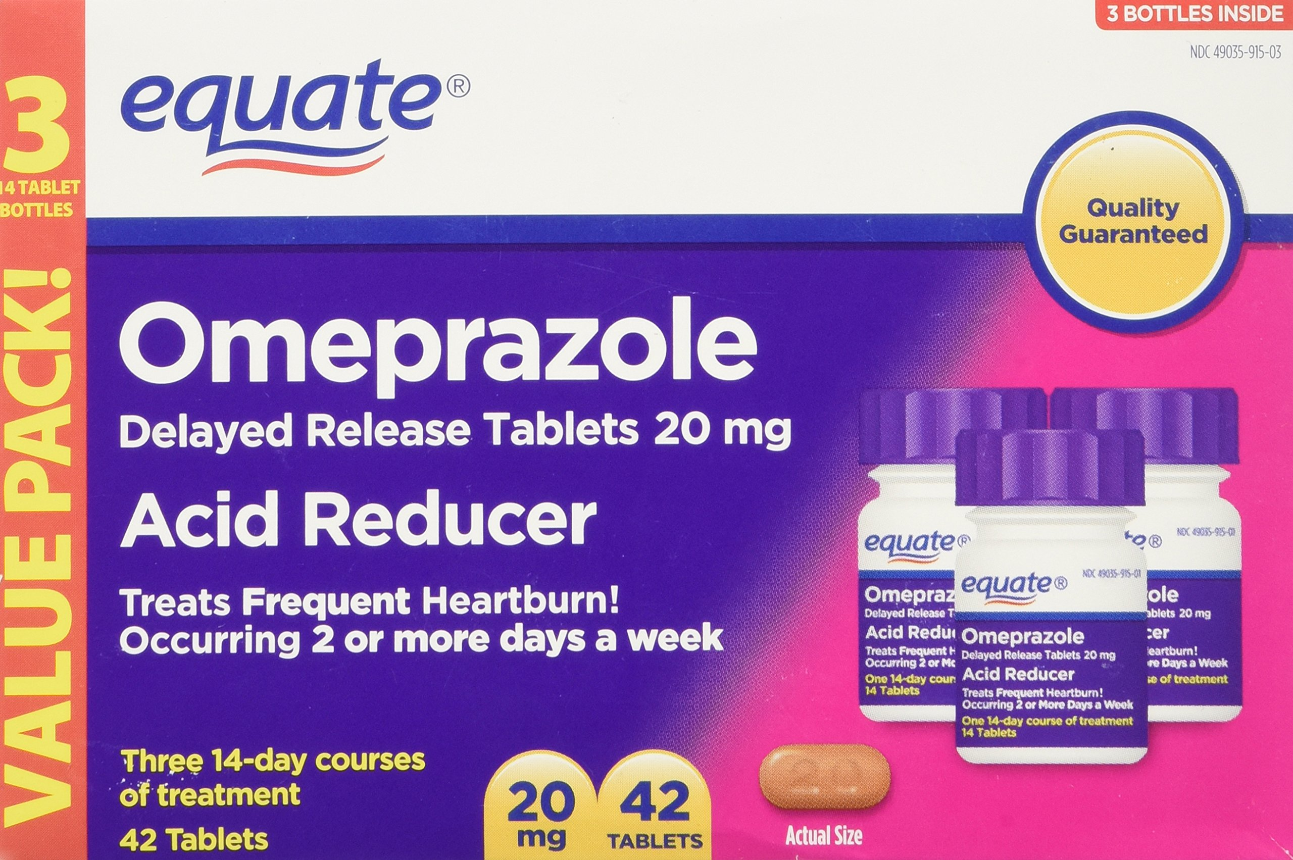 Equate Omeprazole 20 Milligram, Acid Reducer, Delayed Release, 42 Capsules by Equate