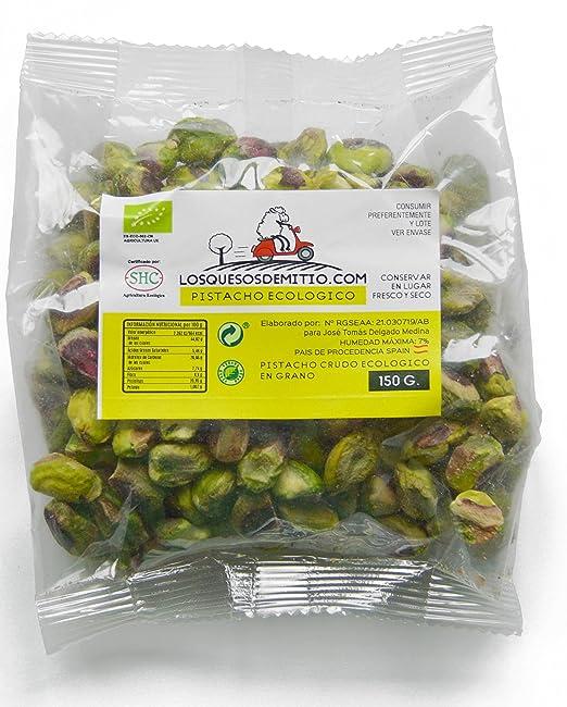 Pistacho Ecológico pelado y crudo sin sal añadida, cultivado en España (frutos secos naturales