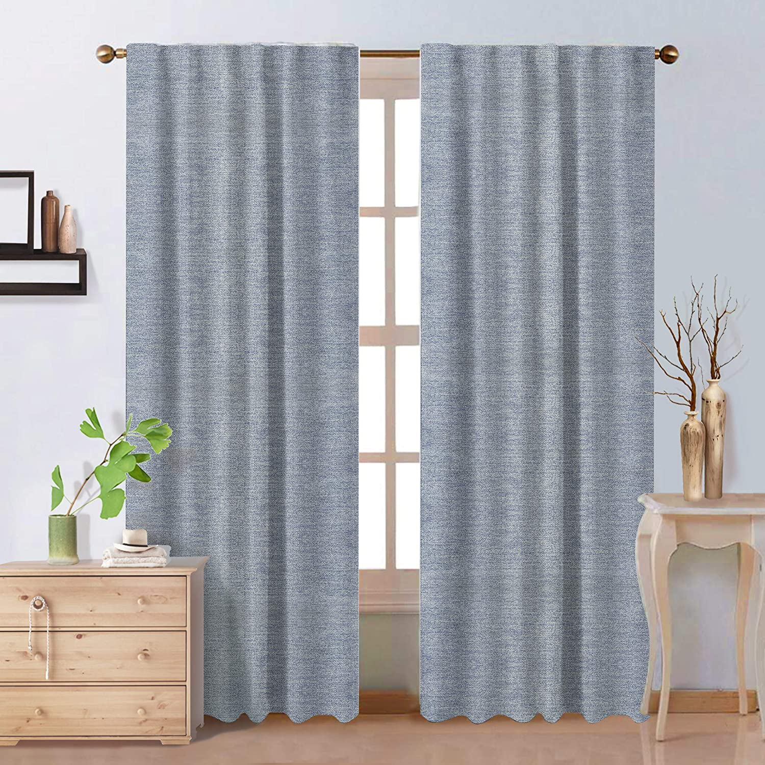 PerfeCurtain Light Blue Ice Linen Semi Blackout Curtains, 52 x 63 inch Back Tab and Rod Pocket Room Darkening Drapes, 2 Pieces
