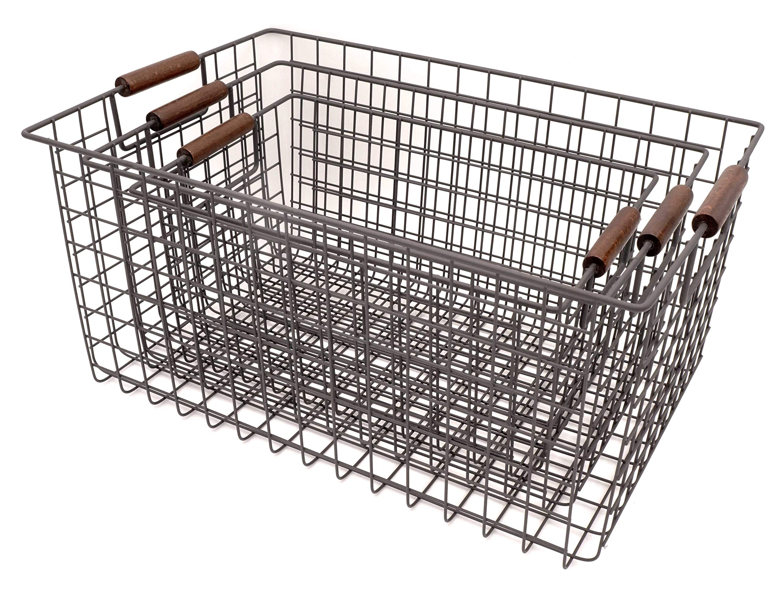 KeKaBox Set of 3 Metal Wire Nesting Storage Baskets with Wood Handles by KeKaBox (Image #3)