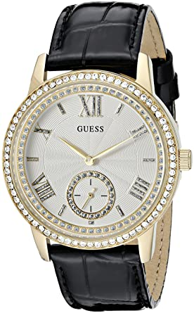 GUESS Women s U0642L2 Elegant Black   Gold-Tome Watch with Genuine Crystals 8606d83bd89