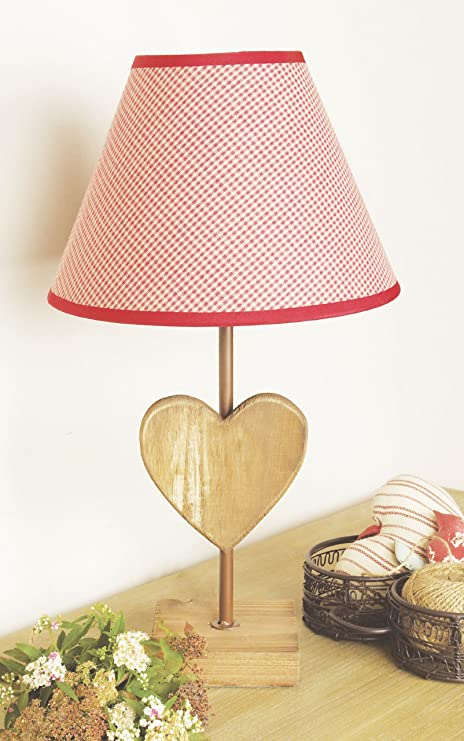 Wooden heart shaped lamp base with a gingham lamp shade amazon wooden heart shaped lamp base with a gingham lamp shade aloadofball Images