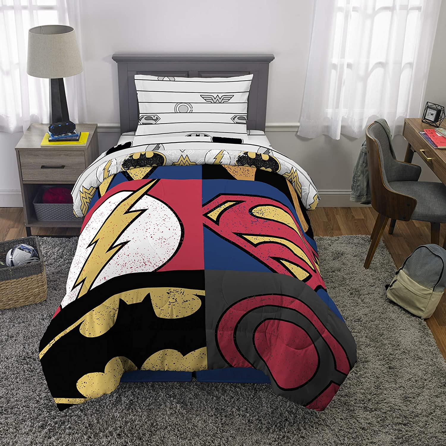 Franco Kids Bedding Super Soft Comforter and Sheet Set, 4 Piece Twin Size, DC Justice League