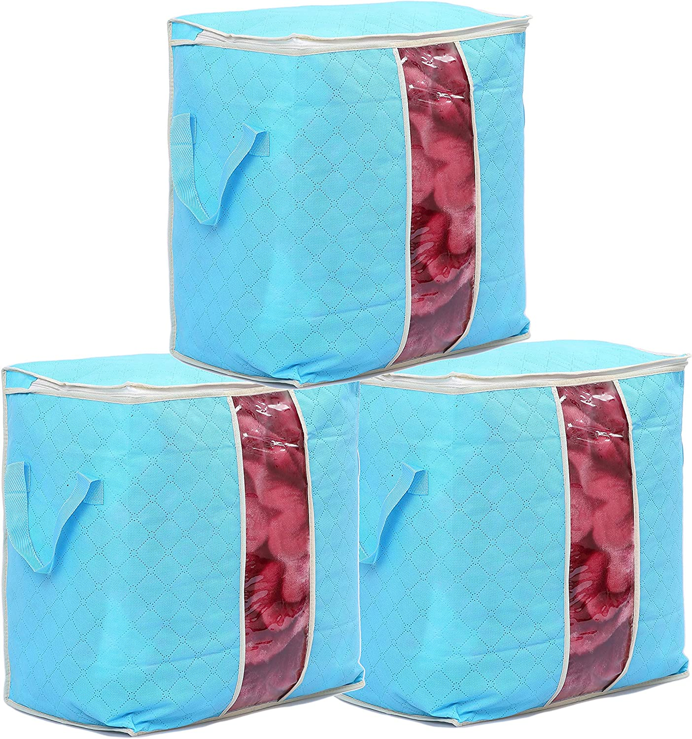 Duvets Moving Organiser Blankets Quilt 3 Piece Set 45 * 27 * 45 Blue Bedding Runsabay Nonwoven Underbed Storage Bags Large Clear Window /& Portable Handles Clothes Storage for Clothes