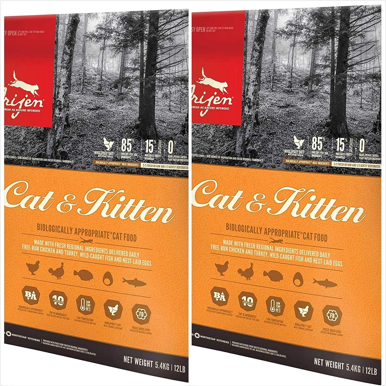 Orijen 2 Pack Cat & Kitten Dry Cat Food 12 lbs. Ea. Grain Free Cat & Kitten Food 2 Bags = 24 Total Pounds