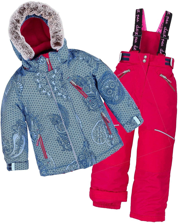 Deux par Deux Girls' 2-Piece Snowsuit Funny Mandalas Red, Sizes 5-14