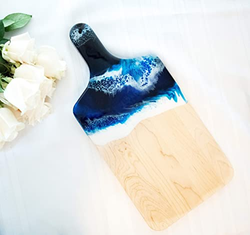 Ocean Theme Wood Cutting Board with handle or Cheese Serving Board Party Tray Coastal Decor