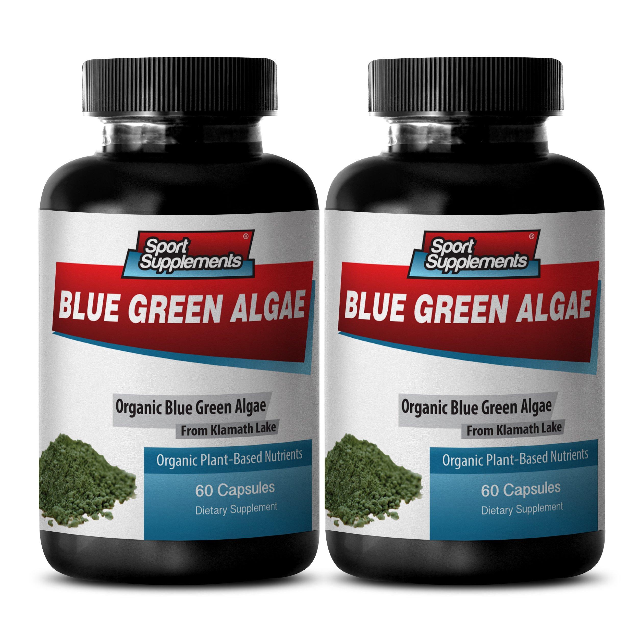 Dietary Supplement to Improve Fatigue - Klamath Blue Green Algae 500mg (2 Bottles 120 Capsules)
